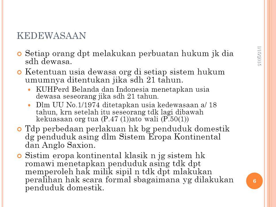 LANJUTAN Setelah perang Dunia II, hampir semua sistem hukum dunia sdh memberikan hak n kewenangan yg sama antara laki-laki n perempuan (lajang ato bersuami).