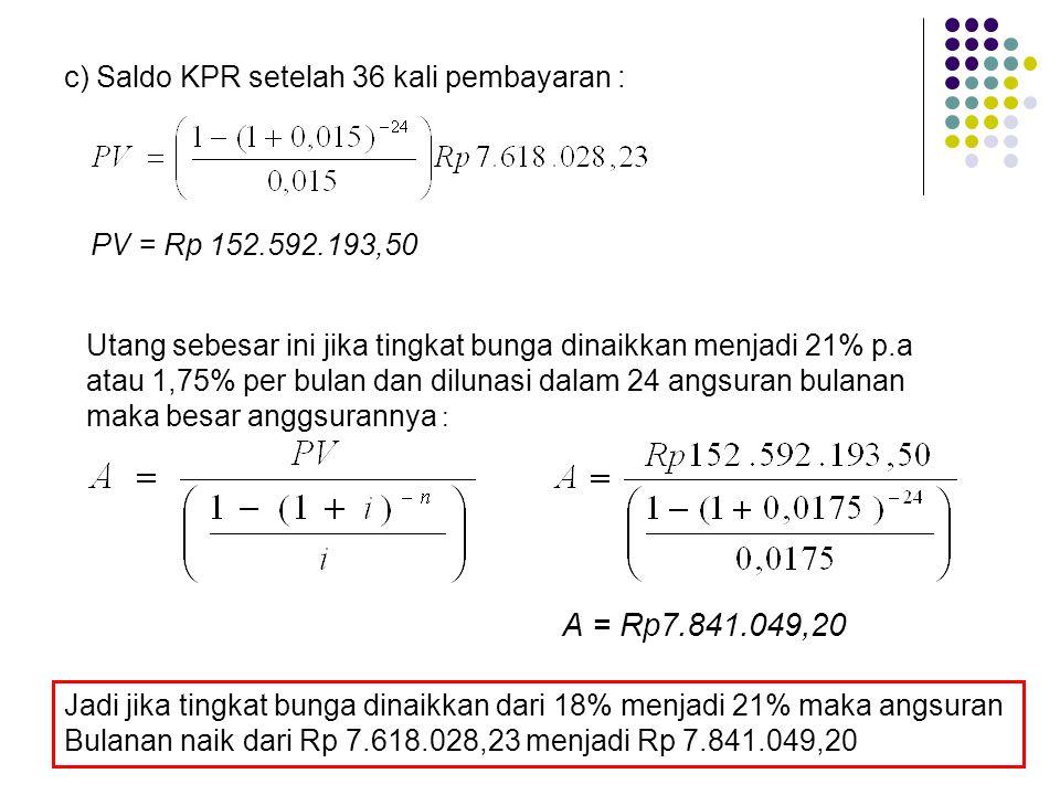 c) Saldo KPR setelah 36 kali pembayaran : PV = Rp 152.592.193,50 Utang sebesar ini jika tingkat bunga dinaikkan menjadi 21% p.a atau 1,75% per bulan dan dilunasi dalam 24 angsuran bulanan maka besar anggsurannya : A = Rp7.841.049,20 Jadi jika tingkat bunga dinaikkan dari 18% menjadi 21% maka angsuran Bulanan naik dari Rp 7.618.028,23 menjadi Rp 7.841.049,20