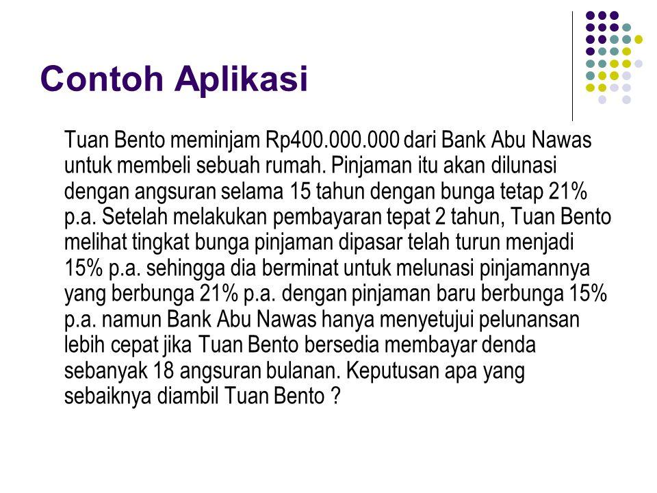 Contoh Aplikasi Tuan Bento meminjam Rp400.000.000 dari Bank Abu Nawas untuk membeli sebuah rumah. Pinjaman itu akan dilunasi dengan angsuran selama 15