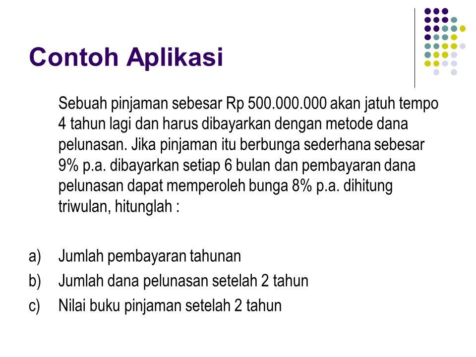 Contoh Aplikasi Sebuah pinjaman sebesar Rp 500.000.000 akan jatuh tempo 4 tahun lagi dan harus dibayarkan dengan metode dana pelunasan. Jika pinjaman