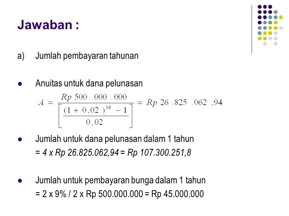Jawaban : a)Jumlah pembayaran tahunan Anuitas untuk dana pelunasan Jumlah untuk dana pelunasan dalam 1 tahun = 4 x Rp 26.825.062,94 = Rp 107.300.251,8 Jumlah untuk pembayaran bunga dalam 1 tahun = 2 x 9% / 2 x Rp 500.000.000 = Rp 45.000.000