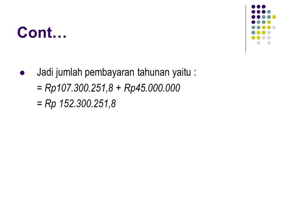 Cont… Jadi jumlah pembayaran tahunan yaitu : = Rp107.300.251,8 + Rp45.000.000 = Rp 152.300.251,8
