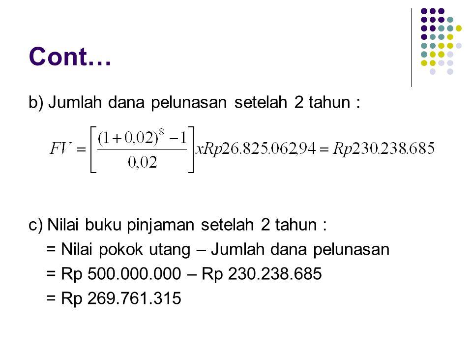 Cont… b) Jumlah dana pelunasan setelah 2 tahun : c) Nilai buku pinjaman setelah 2 tahun : = Nilai pokok utang – Jumlah dana pelunasan = Rp 500.000.000 – Rp 230.238.685 = Rp 269.761.315