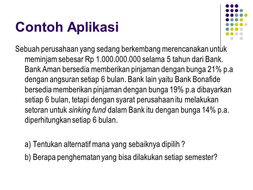 Contoh Aplikasi Sebuah perusahaan yang sedang berkembang merencanakan untuk meminjam sebesar Rp 1.000.000.000 selama 5 tahun dari Bank. Bank Aman bers
