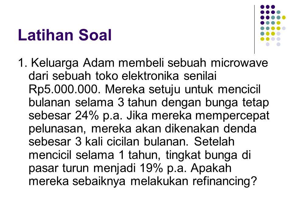Latihan Soal 1. Keluarga Adam membeli sebuah microwave dari sebuah toko elektronika senilai Rp5.000.000. Mereka setuju untuk mencicil bulanan selama 3
