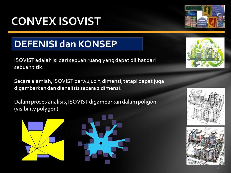 6 CONVEX ISOVIST DEFENISI dan KONSEP ISOVIST adalah isi dari sebuah ruang yang dapat dilihat dari sebuah titik. Secara alamiah, ISOVIST berwujud 3 dim