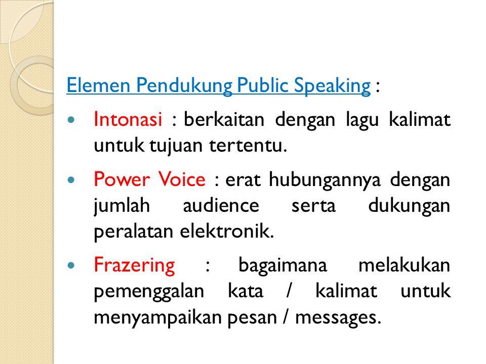 Elemen Pendukung Public Speaking : Gesture : gerakan bagian anggota badan untuk mendukung penampilan, misal tangan, mata, mimik muka.