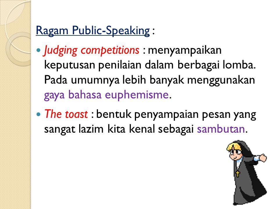 Ragam Public-Speaking : The layman in the pulpit : pemaparan pesan yang biasanya berkaitan dengan kesaksian atau sarat dengan pengalaman rohani maupun