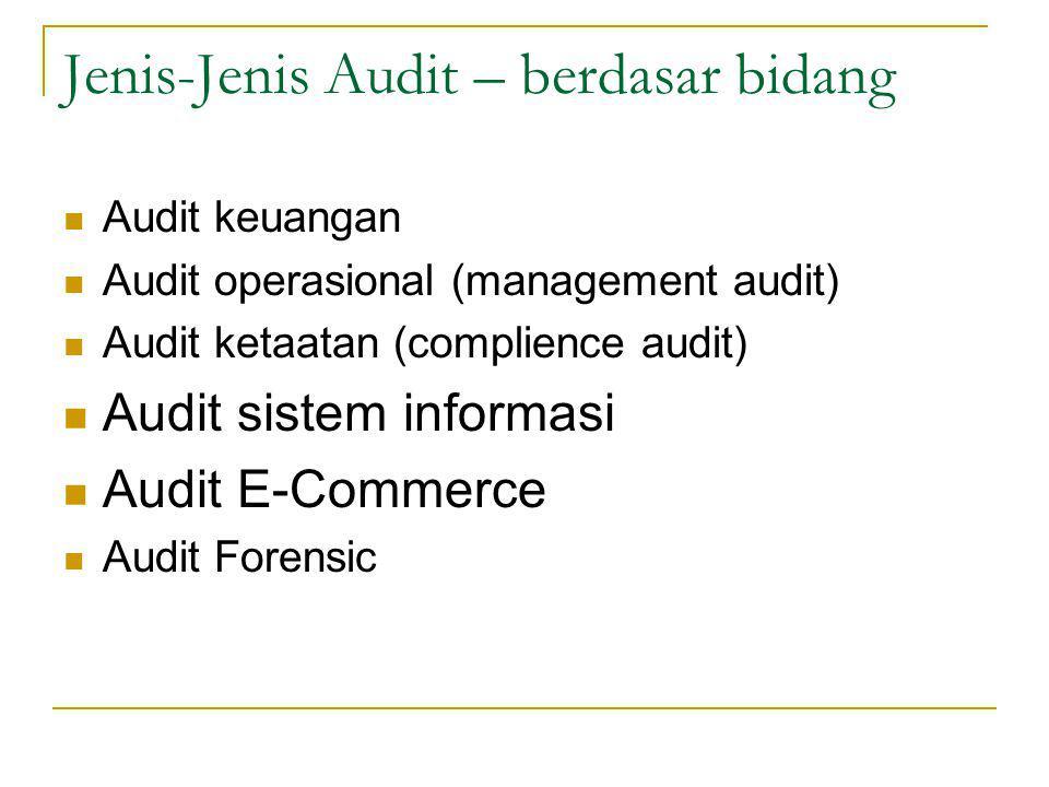 Jenis-Jenis Audit – berdasar bidang Audit keuangan Audit operasional (management audit) Audit ketaatan (complience audit) Audit sistem informasi Audit E-Commerce Audit Forensic