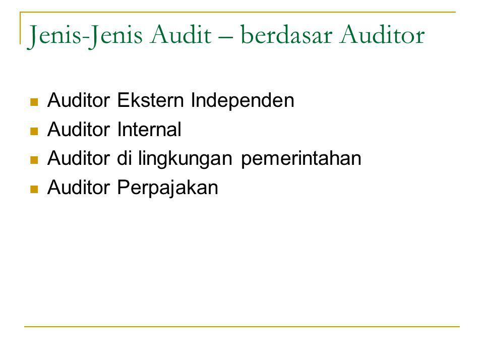 Jenis-Jenis Audit – berdasar Auditor Auditor Ekstern Independen Auditor Internal Auditor di lingkungan pemerintahan Auditor Perpajakan