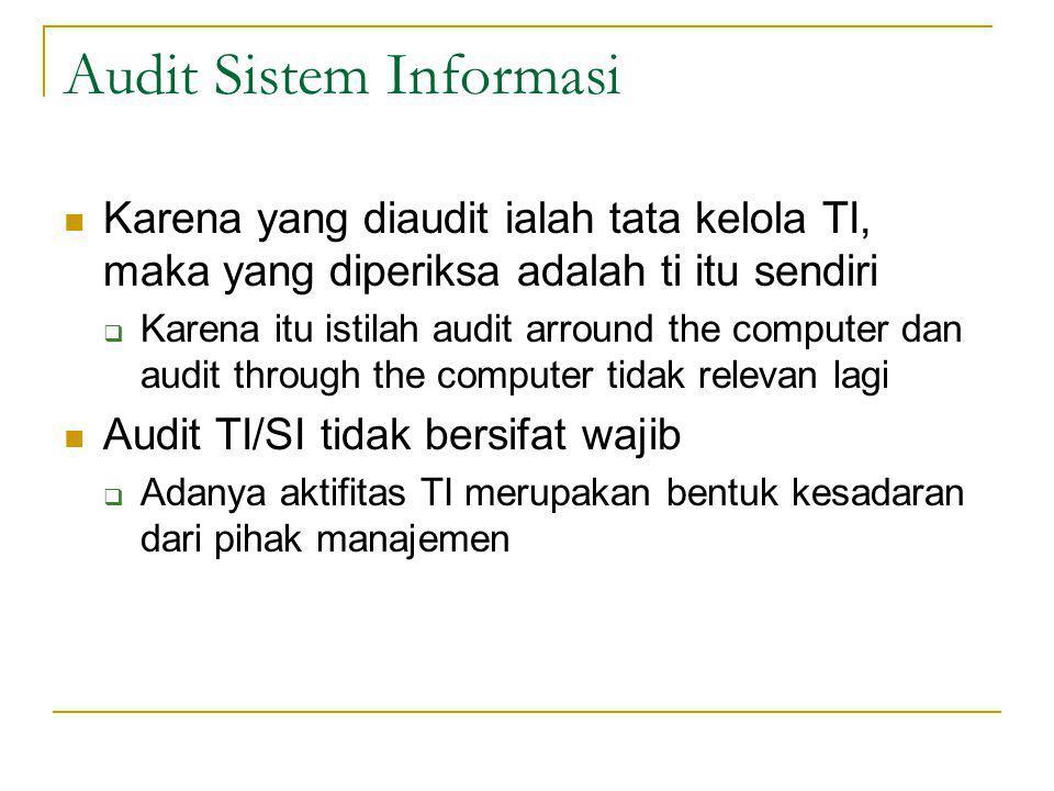 Audit Sistem Informasi Karena yang diaudit ialah tata kelola TI, maka yang diperiksa adalah ti itu sendiri  Karena itu istilah audit arround the computer dan audit through the computer tidak relevan lagi Audit TI/SI tidak bersifat wajib  Adanya aktifitas TI merupakan bentuk kesadaran dari pihak manajemen