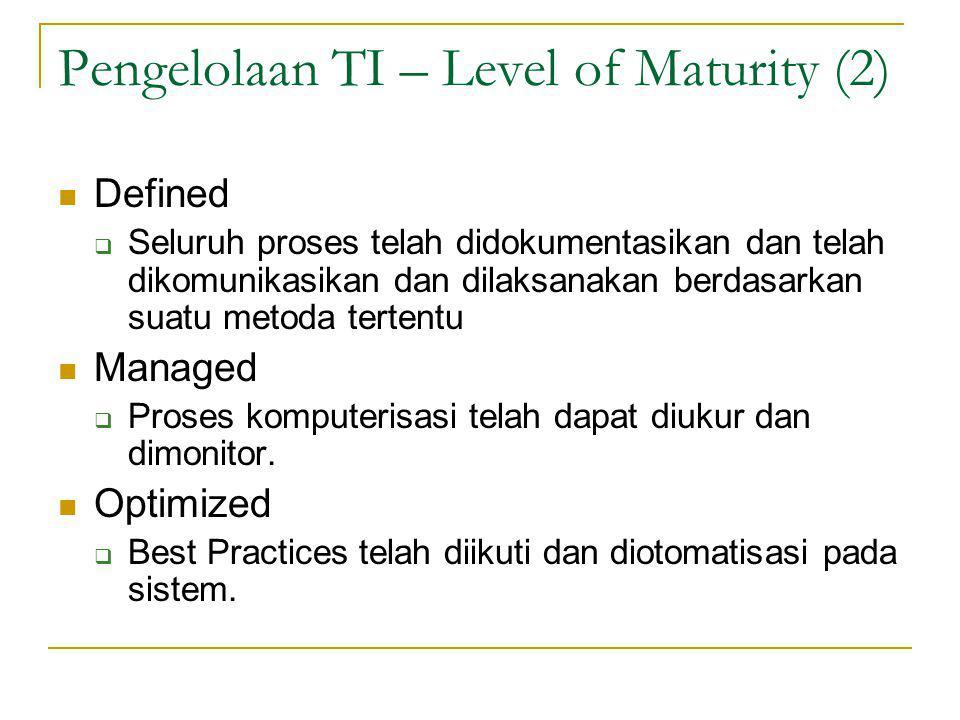 Pengelolaan TI – Level of Maturity (2) Defined  Seluruh proses telah didokumentasikan dan telah dikomunikasikan dan dilaksanakan berdasarkan suatu metoda tertentu Managed  Proses komputerisasi telah dapat diukur dan dimonitor.