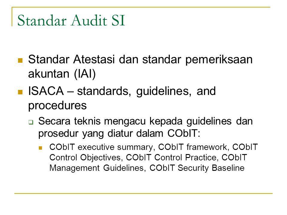 Standar Audit SI Standar Atestasi dan standar pemeriksaan akuntan (IAI) ISACA – standards, guidelines, and procedures  Secara teknis mengacu kepada guidelines dan prosedur yang diatur dalam CObIT: CObIT executive summary, CObIT framework, CObIT Control Objectives, CObIT Control Practice, CObIT Management Guidelines, CObIT Security Baseline
