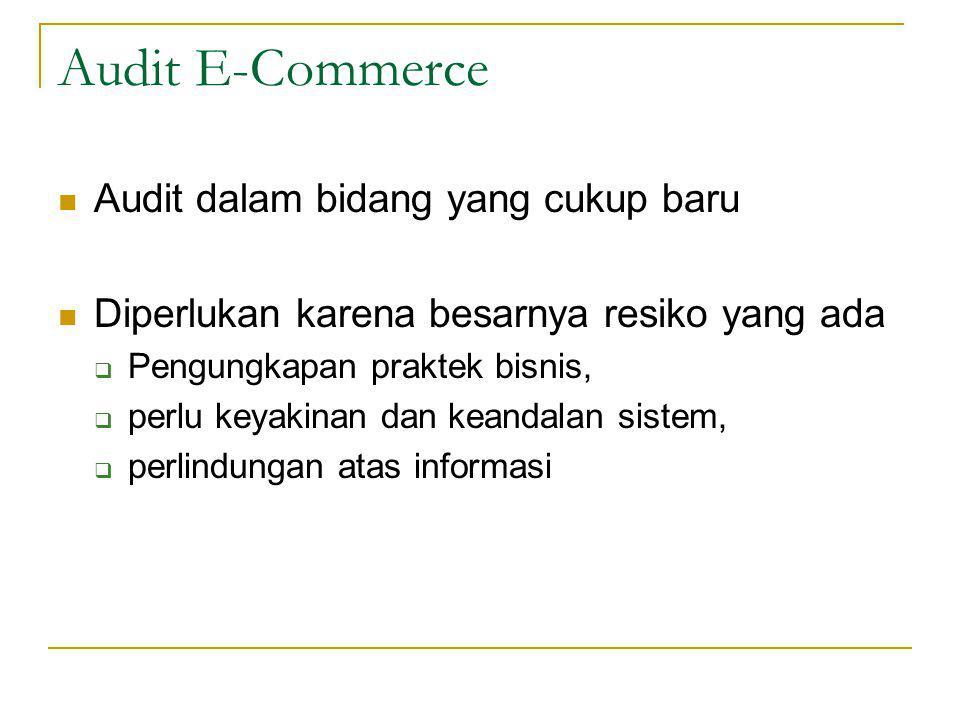 Audit E-Commerce Audit dalam bidang yang cukup baru Diperlukan karena besarnya resiko yang ada  Pengungkapan praktek bisnis,  perlu keyakinan dan keandalan sistem,  perlindungan atas informasi