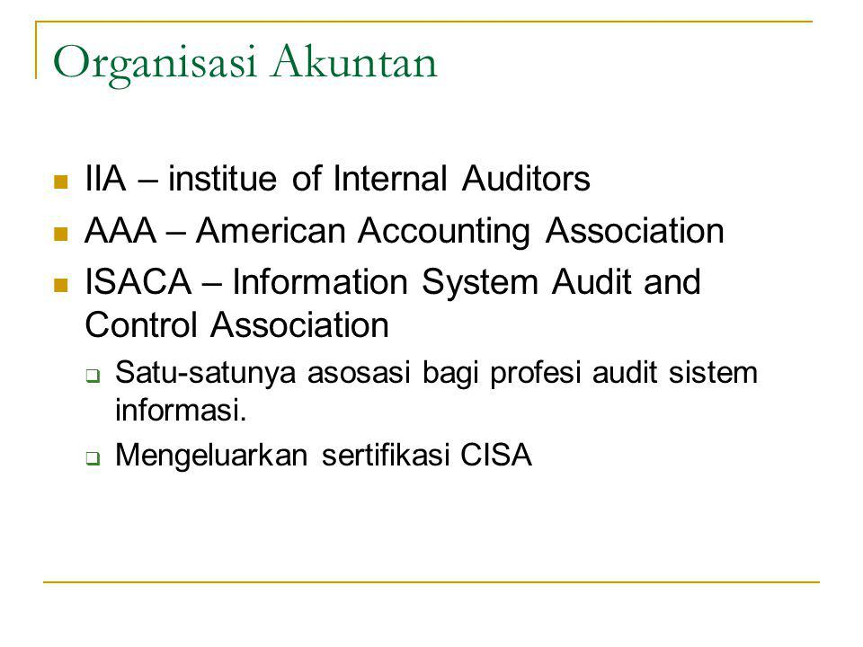 Organisasi Akuntan IIA – institue of Internal Auditors AAA – American Accounting Association ISACA – Information System Audit and Control Association