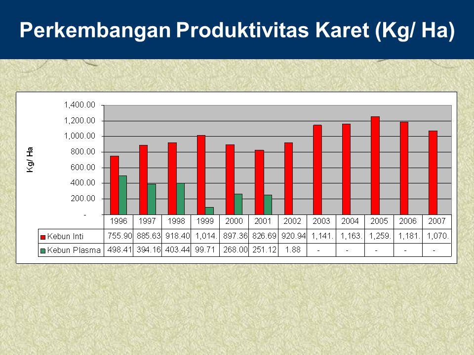 Perkembangan Produktivitas Karet (Kg/ Ha)