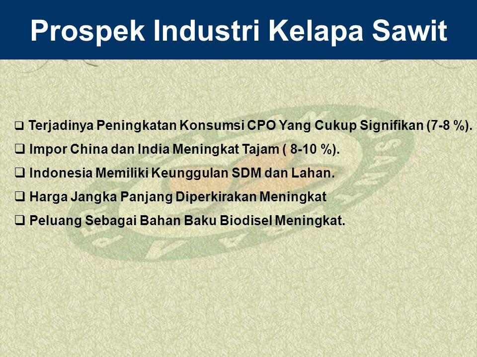 Prospek Industri Kelapa Sawit  Terjadinya Peningkatan Konsumsi CPO Yang Cukup Signifikan (7-8 %).