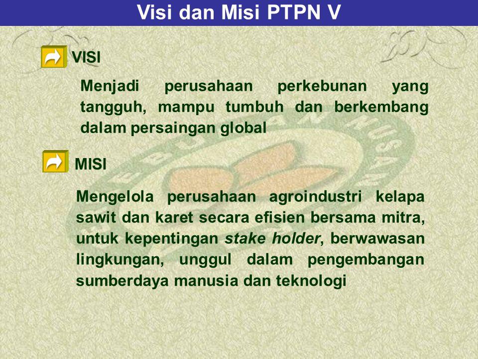 Visi dan Misi PTPN V VISI Menjadi perusahaan perkebunan yang tangguh, mampu tumbuh dan berkembang dalam persaingan global MISI Mengelola perusahaan agroindustri kelapa sawit dan karet secara efisien bersama mitra, untuk kepentingan stake holder, berwawasan lingkungan, unggul dalam pengembangan sumberdaya manusia dan teknologi