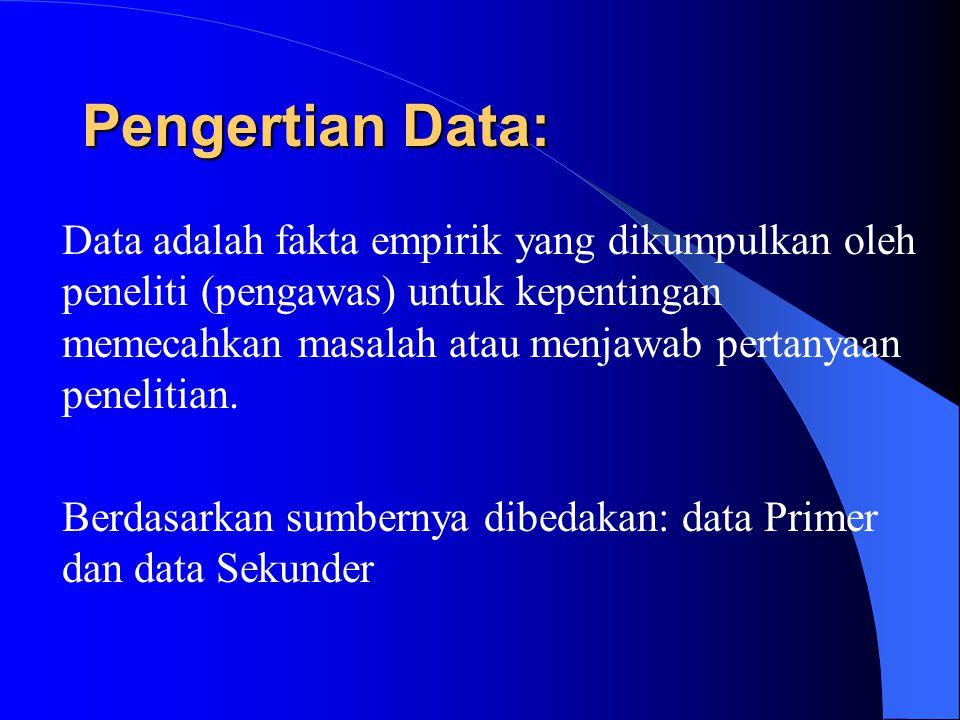 Pengertian Data: Data adalah fakta empirik yang dikumpulkan oleh peneliti (pengawas) untuk kepentingan memecahkan masalah atau menjawab pertanyaan penelitian.
