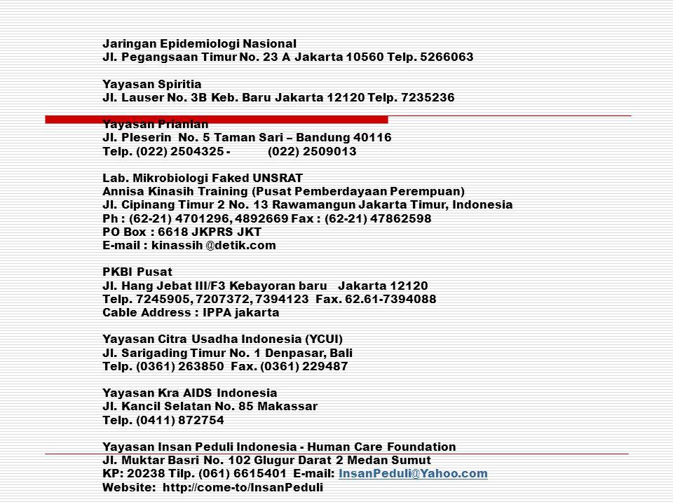 Jaringan Epidemiologi Nasional Jl. Pegangsaan Timur No. 23 A Jakarta 10560 Telp. 5266063 Yayasan Spiritia Jl. Lauser No. 3B Keb. Baru Jakarta 12120 Te