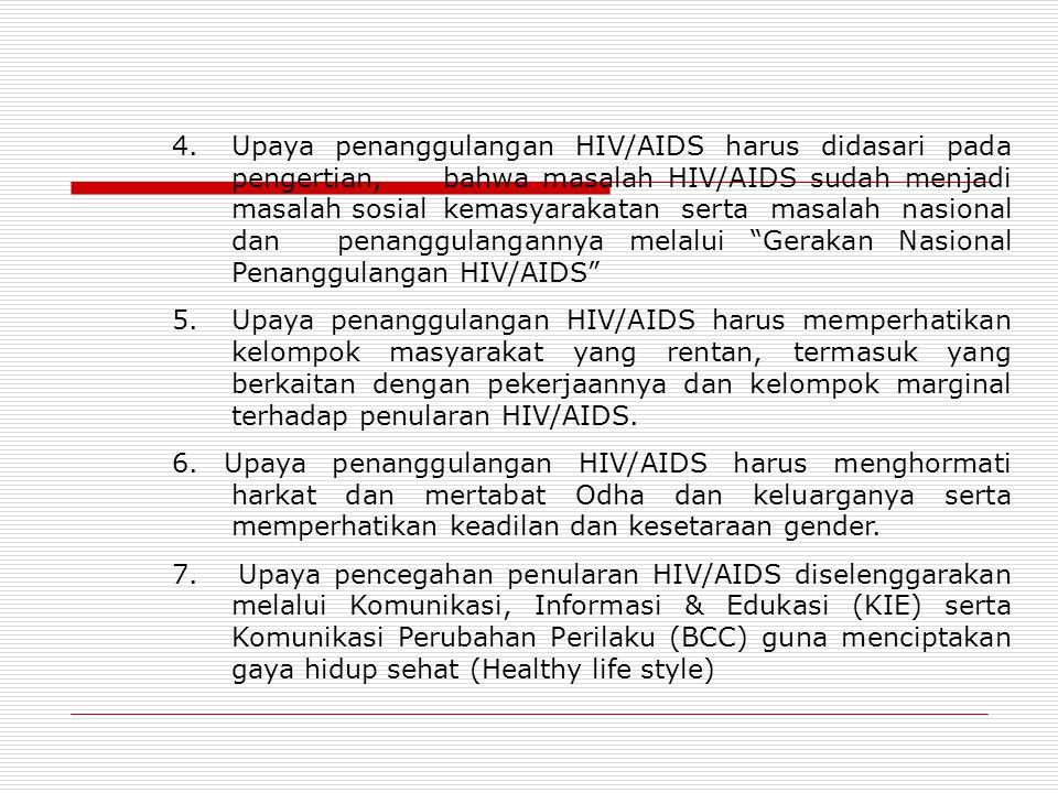 4. Upaya penanggulangan HIV/AIDS harus didasari pada pengertian, bahwa masalah HIV/AIDS sudah menjadi masalah sosial kemasyarakatan serta masalah nasi