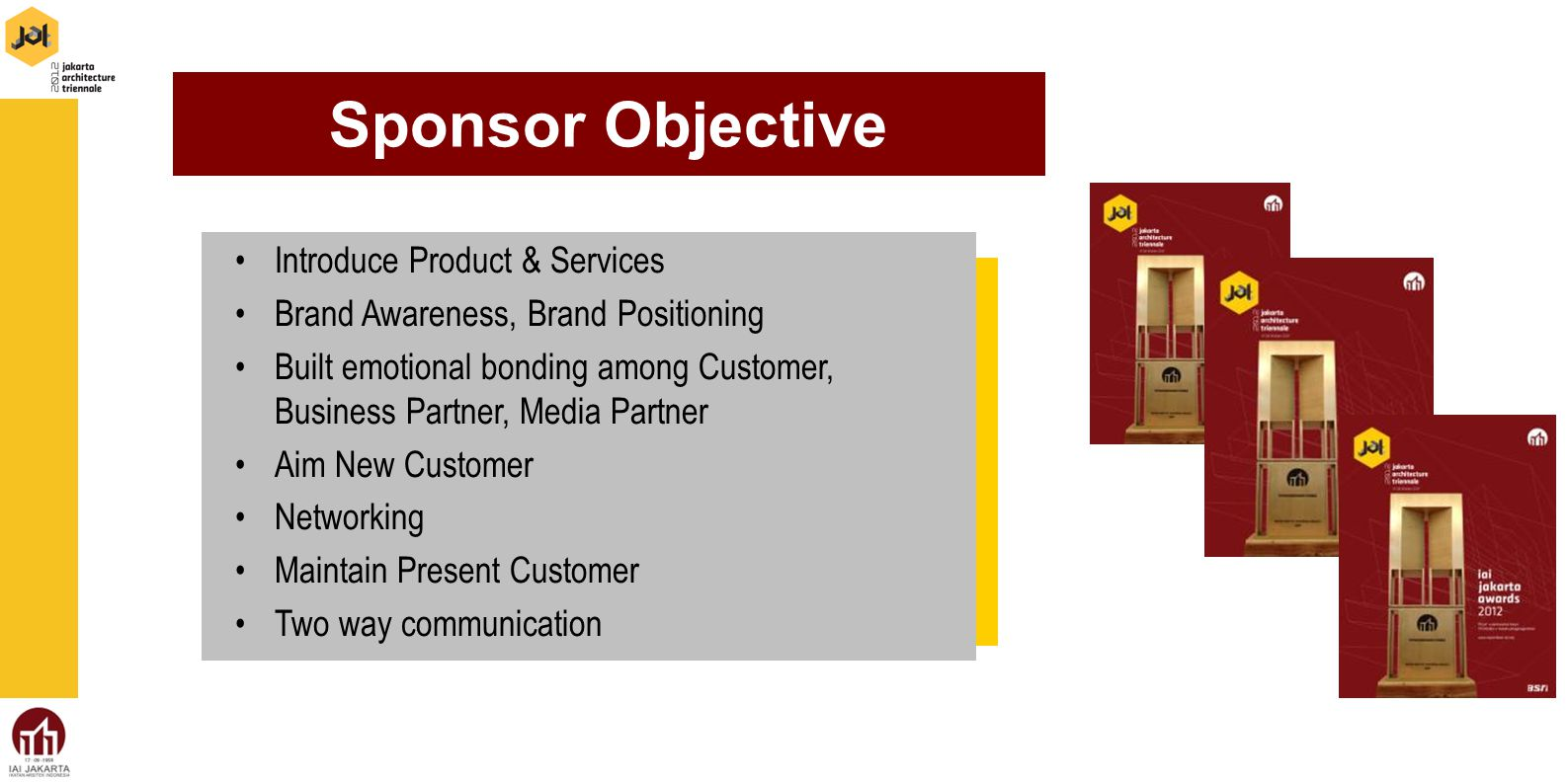 Introduce Product & Services Brand Awareness, Brand Positioning Built emotional bonding among Customer, Business Partner, Media Partner Aim New Customer Networking Maintain Present Customer Two way communication Sponsor Objective