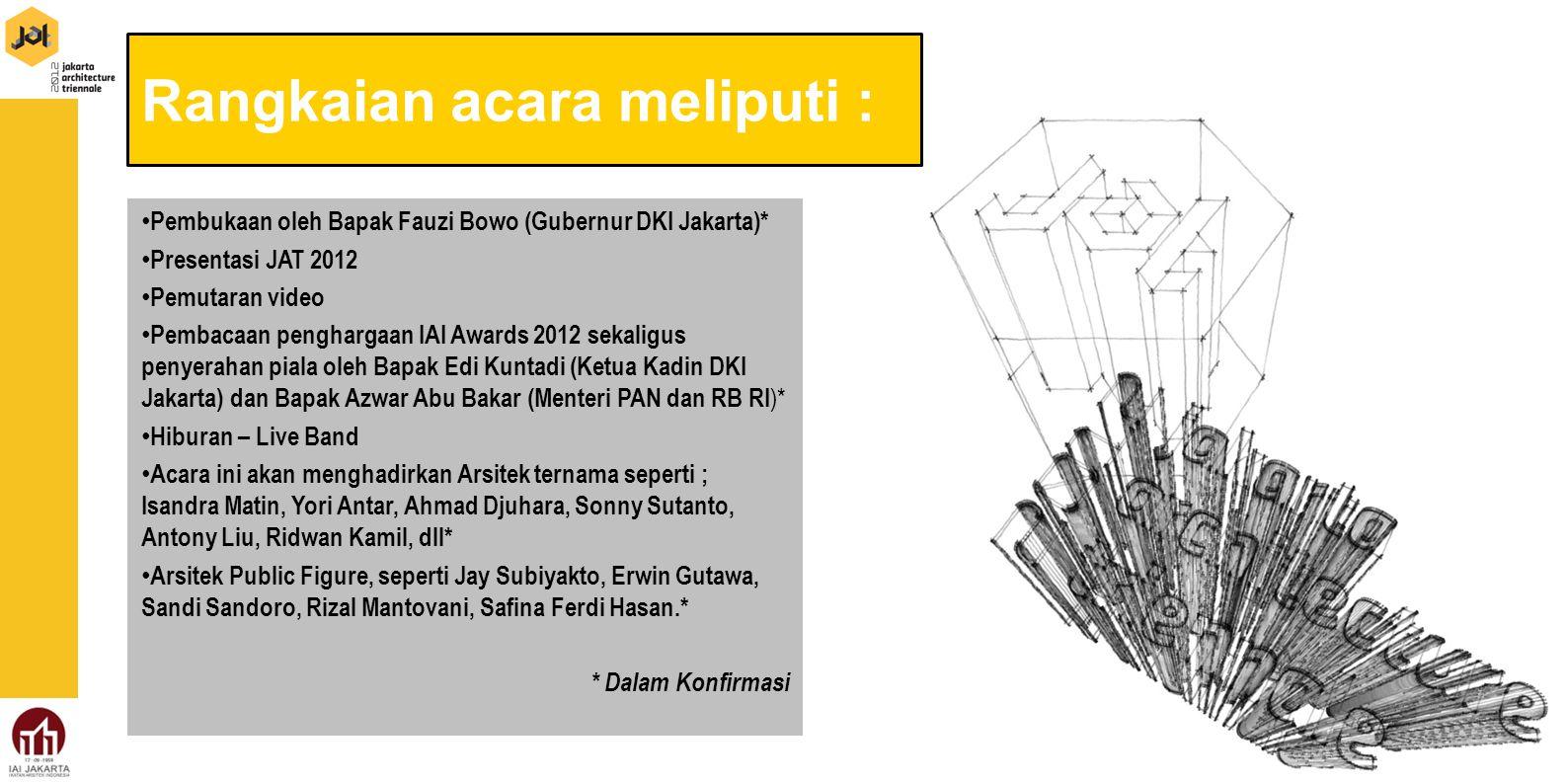 Rangkaian acara meliputi : Pembukaan oleh Bapak Fauzi Bowo (Gubernur DKI Jakarta)* Presentasi JAT 2012 Pemutaran video Pembacaan penghargaan IAI Award