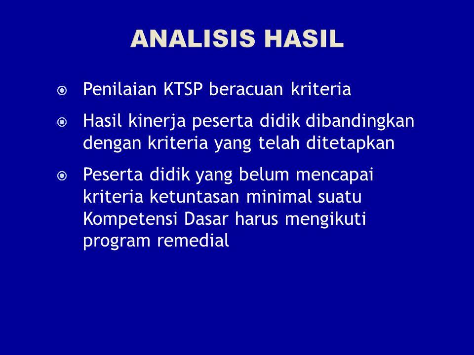  Penilaian KTSP beracuan kriteria  Hasil kinerja peserta didik dibandingkan dengan kriteria yang telah ditetapkan  Peserta didik yang belum mencapai kriteria ketuntasan minimal suatu Kompetensi Dasar harus mengikuti program remedial