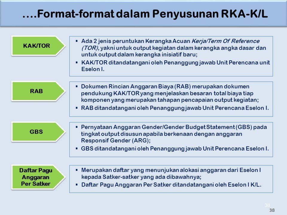 ....Format-format dalam Penyusunan RKA-K/L 38  Ada 2 jenis peruntukan Kerangka Acuan Kerja/Term Of Reference (TOR), yakni untuk output kegiatan dalam kerangka angka dasar dan untuk output dalam kerangka inisiatif baru;  KAK/TOR ditandatangani oleh Penanggung jawab Unit Perencana unit Eselon I.