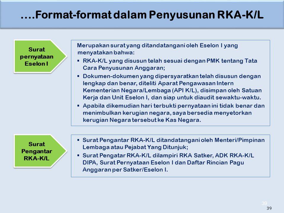 ....Format-format dalam Penyusunan RKA-K/L 39 Merupakan surat yang ditandatangani oleh Eselon I yang menyatakan bahwa:  RKA-K/L yang disusun telah se