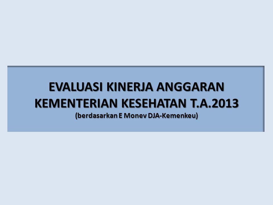 EVALUASI KINERJA ANGGARAN KEMENTERIAN KESEHATAN T.A.2013 (berdasarkan E Monev DJA-Kemenkeu)