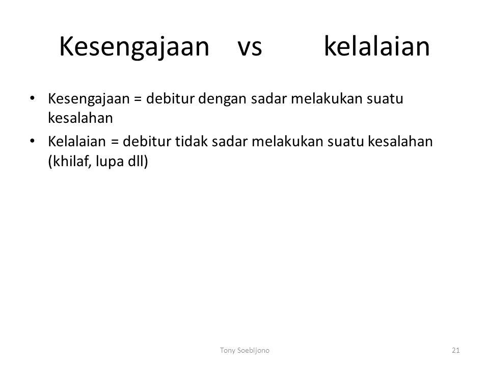 Kesengajaan vs kelalaian Kesengajaan = debitur dengan sadar melakukan suatu kesalahan Kelalaian = debitur tidak sadar melakukan suatu kesalahan (khila
