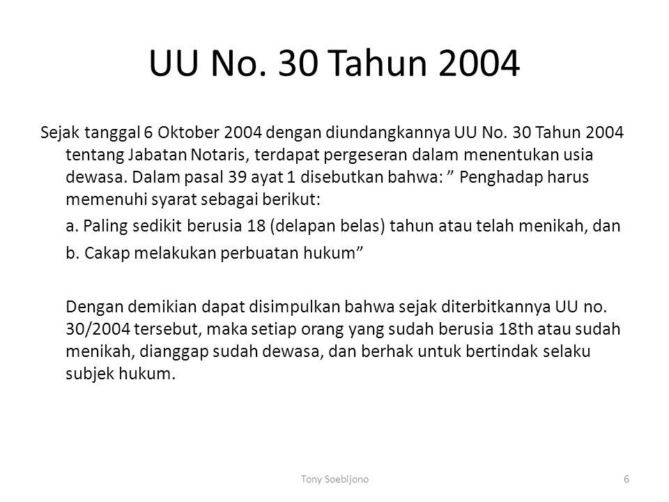 UU No. 30 Tahun 2004 Sejak tanggal 6 Oktober 2004 dengan diundangkannya UU No. 30 Tahun 2004 tentang Jabatan Notaris, terdapat pergeseran dalam menent
