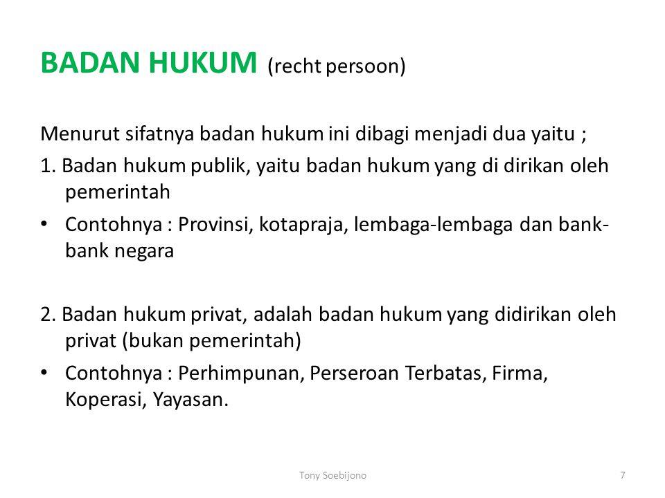 BADAN HUKUM (recht persoon) Menurut sifatnya badan hukum ini dibagi menjadi dua yaitu ; 1. Badan hukum publik, yaitu badan hukum yang di dirikan oleh