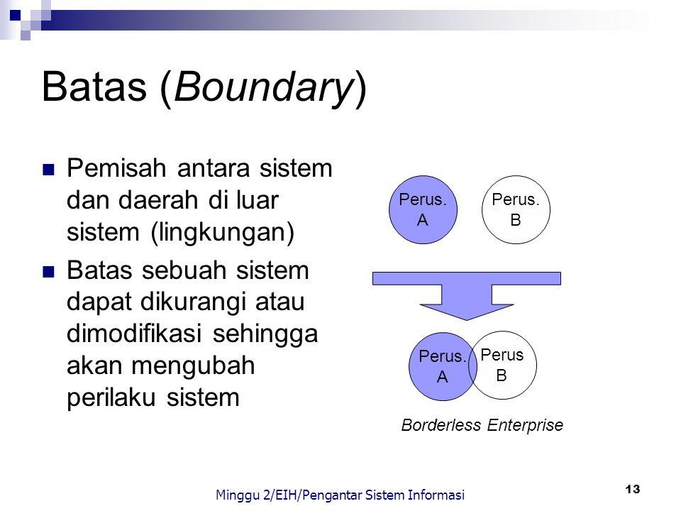 13 Batas (Boundary) Pemisah antara sistem dan daerah di luar sistem (lingkungan) Batas sebuah sistem dapat dikurangi atau dimodifikasi sehingga akan m