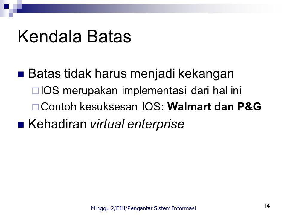 14 Kendala Batas Batas tidak harus menjadi kekangan  IOS merupakan implementasi dari hal ini  Contoh kesuksesan IOS: Walmart dan P&G Kehadiran virtu