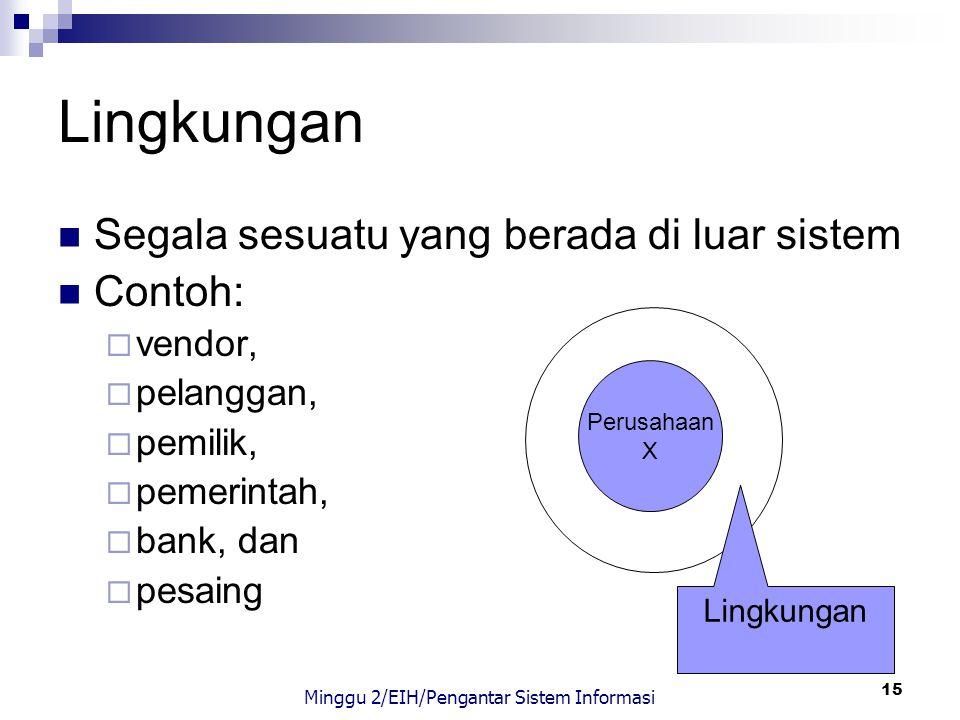 15 Lingkungan Segala sesuatu yang berada di luar sistem Contoh:  vendor,  pelanggan,  pemilik,  pemerintah,  bank, dan  pesaing Perusahaan X Lin