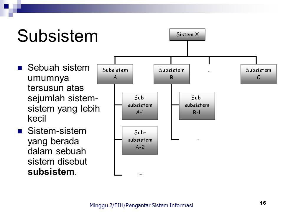 16 Subsistem Sebuah sistem umumnya tersusun atas sejumlah sistem- sistem yang lebih kecil Sistem-sistem yang berada dalam sebuah sistem disebut subsis