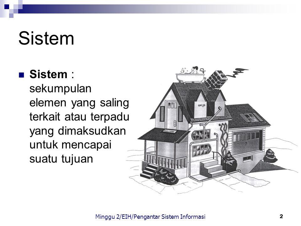 2 Sistem Sistem : sekumpulan elemen yang saling terkait atau terpadu yang dimaksudkan untuk mencapai suatu tujuan Minggu 2/EIH/Pengantar Sistem Inform