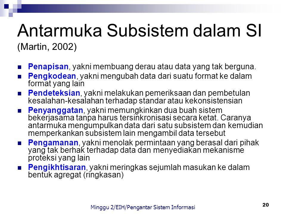 20 Antarmuka Subsistem dalam SI (Martin, 2002) Penapisan, yakni membuang derau atau data yang tak berguna. Pengkodean, yakni mengubah data dari suatu