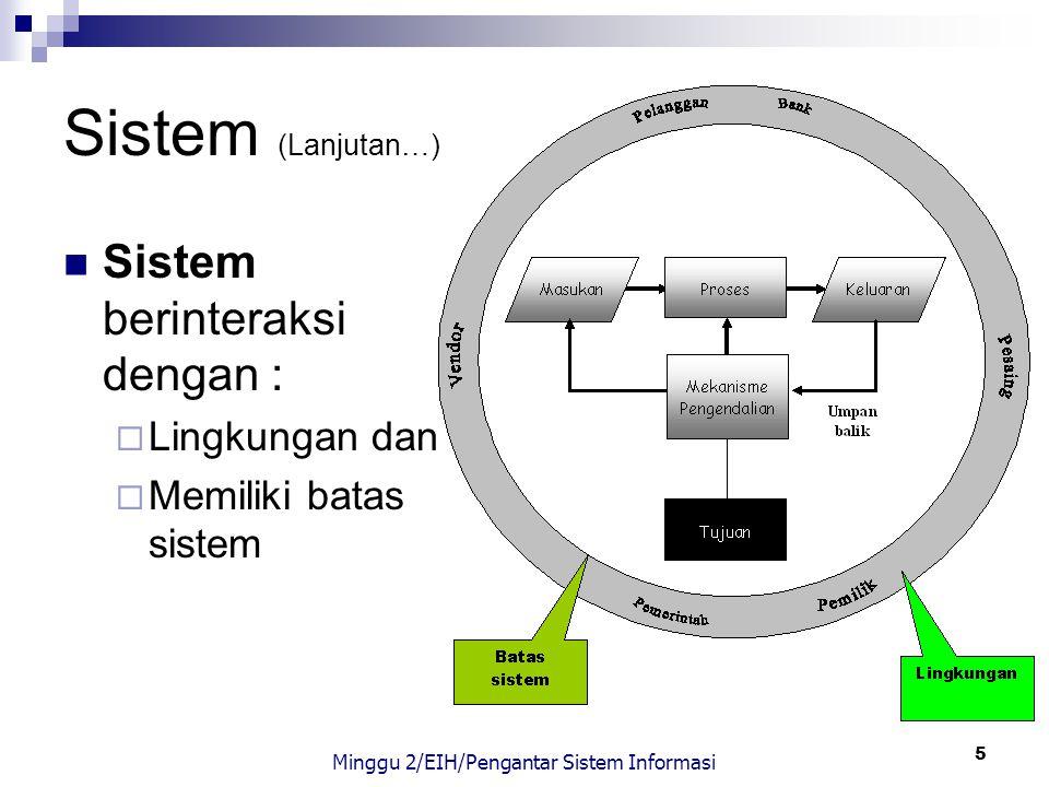 6 Tujuan Sistem Setiap sistem memiliki tujuan (goal) Tujuan berfungsi sebagai pengarah sistem Tiga tujuan utama SI (Hall, 2000):  untuk mendukung fungsi kepengurusan manajemen,  untuk mendukung pengambilan keputusan manajemen,  untuk mendukung kegiatan operasi perusahaan Minggu 2/EIH/Pengantar Sistem Informasi
