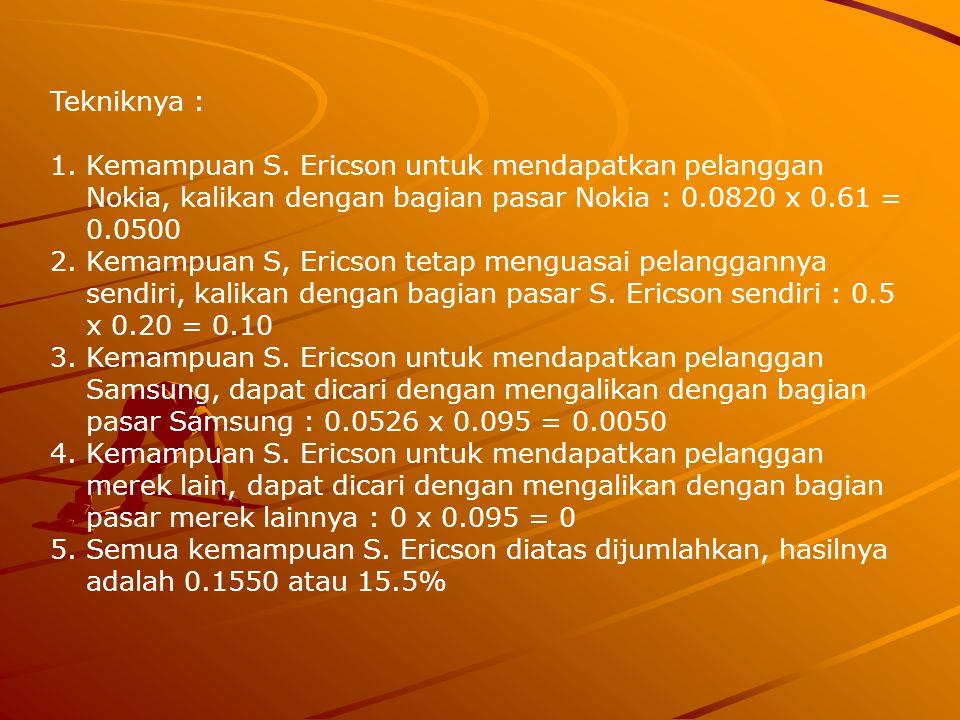 Tekniknya : 1.Kemampuan S. Ericson untuk mendapatkan pelanggan Nokia, kalikan dengan bagian pasar Nokia : 0.0820 x 0.61 = 0.0500 2.Kemampuan S, Ericso
