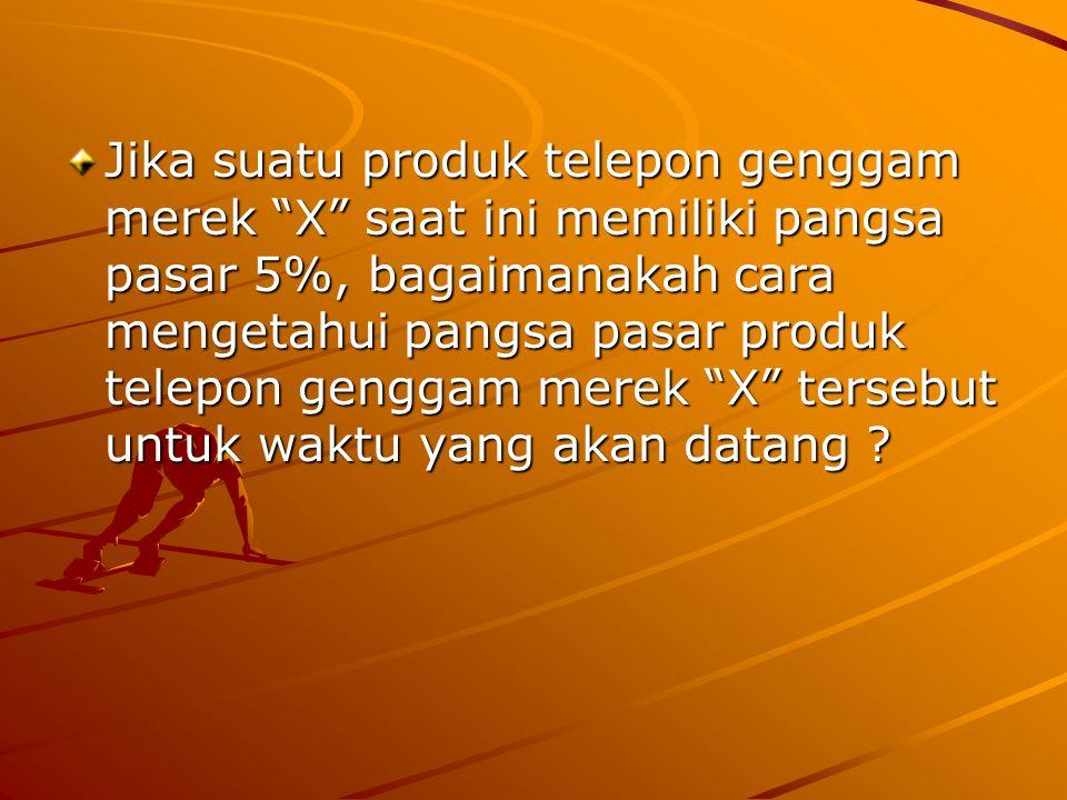 """Jika suatu produk telepon genggam merek """"X"""" saat ini memiliki pangsa pasar 5%, bagaimanakah cara mengetahui pangsa pasar produk telepon genggam merek"""