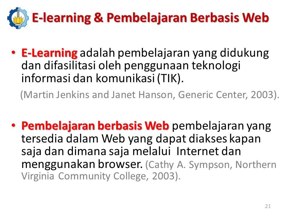 E-Learning E-Learning adalah pembelajaran yang didukung dan difasilitasi oleh penggunaan teknologi informasi dan komunikasi (TIK).