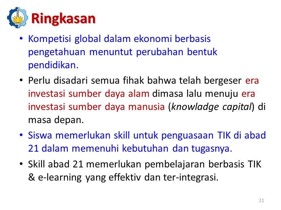 Kompetisi global dalam ekonomi berbasis pengetahuan menuntut perubahan bentuk pendidikan.