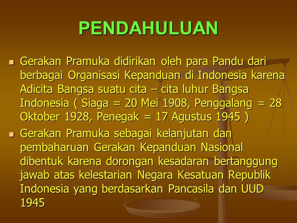 PENDAHULUAN Gerakan Pramuka didirikan oleh para Pandu dari berbagai Organisasi Kepanduan di Indonesia karena Adicita Bangsa suatu cita – cita luhur Ba