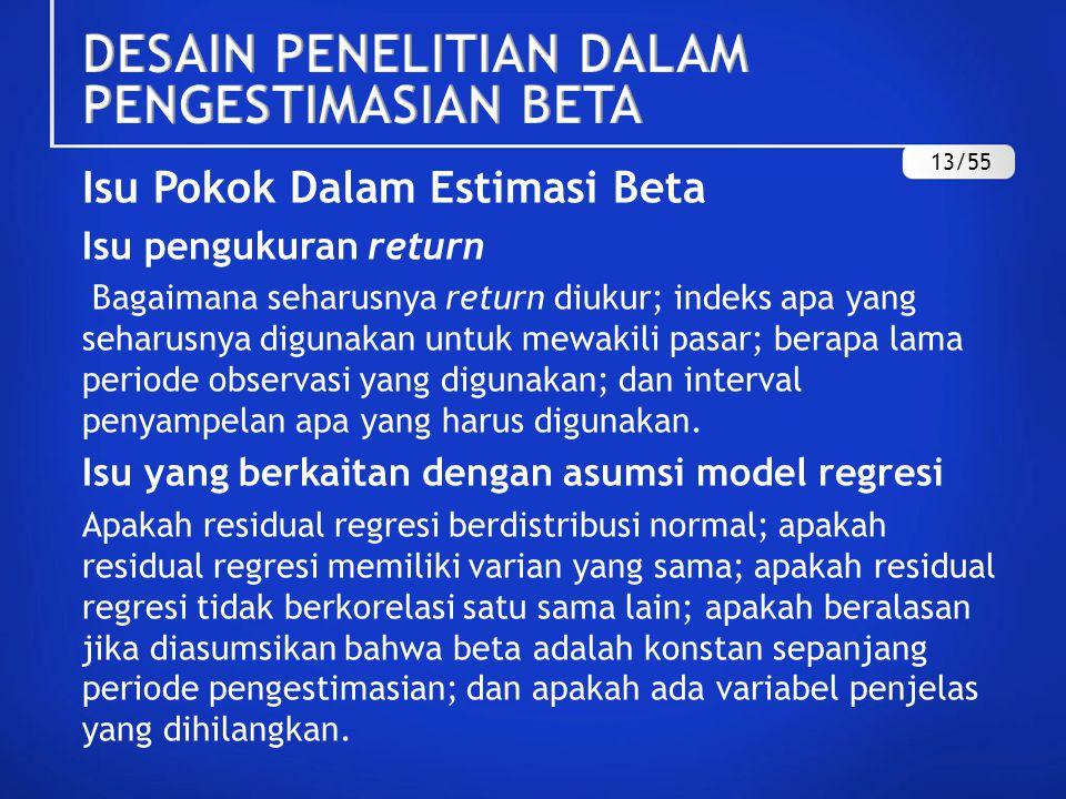 Isu Pengukuran Return  Tahap pertama untuk memperoleh estimasi beta adalah menghitung nilai return sekuritas individual dan return pasar.