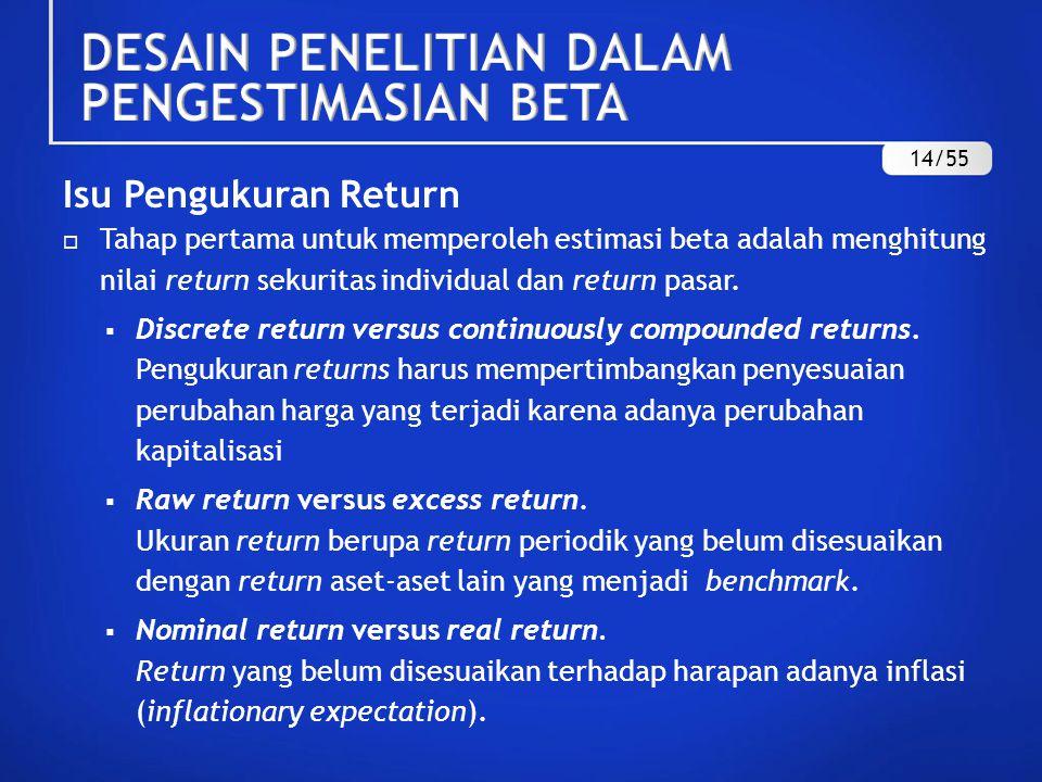 METODE PENGUKURAN RETURN Perhitungan Return Raw Return o Discrete Return (DR t ) o Continuously Compounded Returns (CCR t ) 15/55