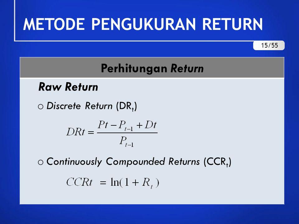 Perhitungan Return Excess Return o Discrete Excess Return (DER t ) o Continuously Compounded Excess Returns (CCER t ) R ft = tingkat bunga bebas risiko (SBI) METODE PENGUKURAN RETURN 16/55