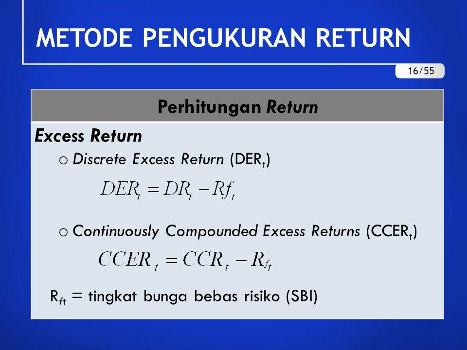 Perhitungan Return Real Return Discrete Real Return (DRR t ) Continuously Compounded Real Returns (CCRR t ) r = tingkat inflasi METODE PENGUKURAN RETURN 17/55
